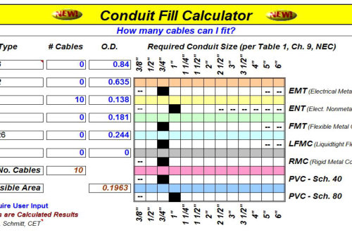 Nec Conduit Fill Chart For Pvc Conduit Choice Image  Wiring Table